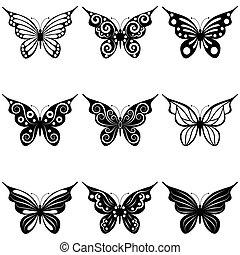 een, set, van, vlinder