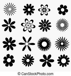 een, set, van, zwart wit, bloemen