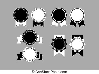 een, set, van, zwart wit, retro, labe