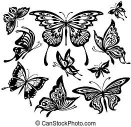 een, set, van, zwart wit, vlinder