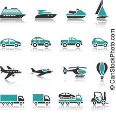 een, set, -, vervoeren, iconen