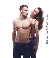 een, sexy, jonge, topless, het omhelzen van het paar, in, jeans