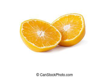 een, sinaasappel, op, een, witte achtergrond