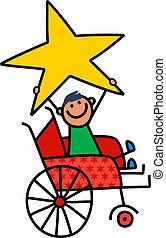 een, spotprent, kinderlijk, tekening, van, een, vrolijke , invalide, de zitting van de jongen, in, een, wheelchair, en, vasthouden, een, reus, star.