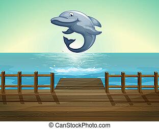 een, springt, dolfijn, en, zee poort