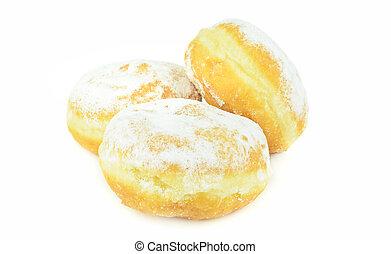 een, stapel, van, fris, jam, gevulde, doughnuts