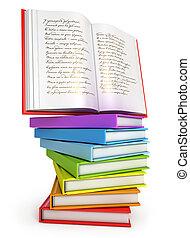een, stapel, van, kleurrijke, boekjes , met, opengeslagen boek, op bovenkant