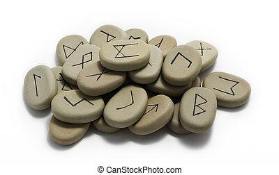 een, stapel, van, runestones
