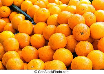 een, stapel, van, sinaasappel, te koop