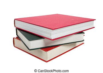 een, stapel, van, textbooks, op wit