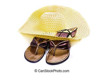 een, stro hoed, en, strand, schoentjes