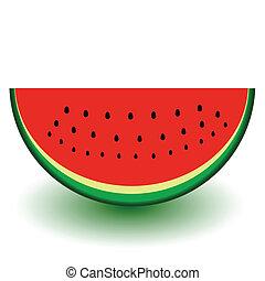 een, stuk, van, watermeloen, vector, illust