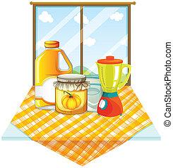 een, tafel, met, een, mixer, en, containers