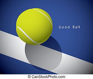 een, tennis bal, op, de, lijn