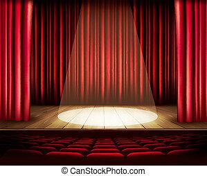 een, theater, toneel, met, een, rood gordijn, zetels, en,...