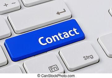 een, toetsenbord, met, een, blauwe , knoop, -, contact