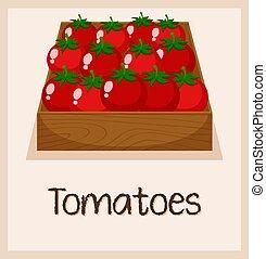 een, tomaat, in, de doos