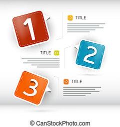 een, twee, drie, vector, papier, voortgang, stappen, voor,...