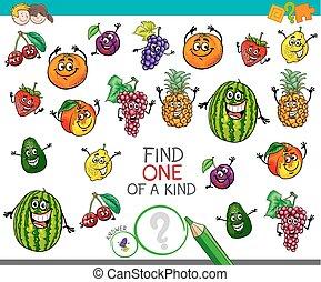 een van een aard, activiteit, met, fruit, karakters