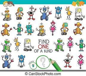 een van een aard, activiteit, met, robots, karakters