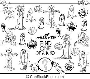 een van een aard, spel, met, halloween, thema's