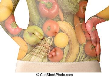 een, van een vrouw, buik, met, fruit en groenten, vrijstaand, op wit