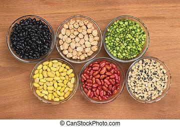 een, variëteit, van, peulvruchten, (black, bonen, chickpeas,...