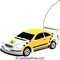 een, vectorized, gele, speelgoedauto