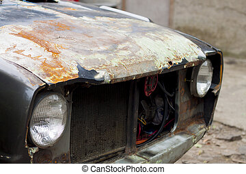 een, verbazend, roest, oud, auto, fotografie