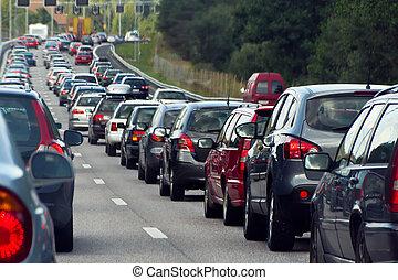 een, verkeersopstopping, met, rijen, van, auto's