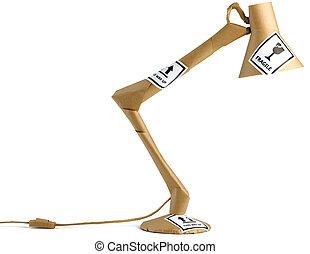 een, verpakt, anglepoise, lamp, gereed, voor, kantoorbeweging, vrijstaand, op, een, witte achtergrond, met, breekbaar, stickers