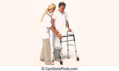een, verpleegkundige, portie, een, patiënt, om te lopen