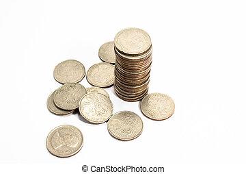 een, verzameling, van, diverse munten, van, landen, de kloot