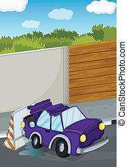 een, viooltje, auto, het stoten, de muur