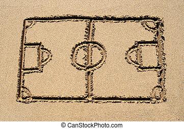 een, voetbalhoogte, getrokken, op, een, zanderig, strand.