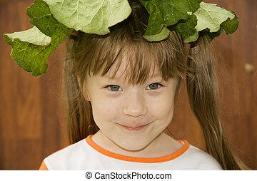 een, vrolijk, klein meisje, smile.