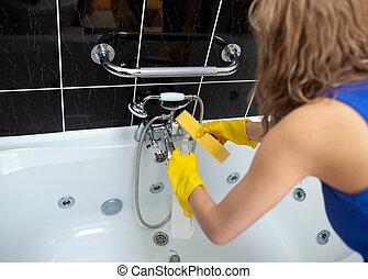 een, vrouw, poetsen, een, badkamer, met, een
