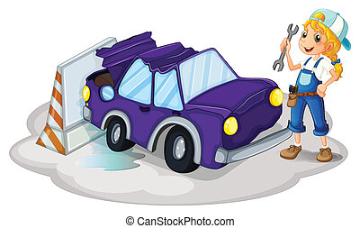een, vrouw, repareren, de, viooltje, auto
