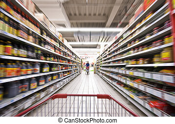 een, vrouw winkelen, op, de, supermarkt