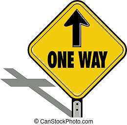 een weg, religieus, meldingsbord