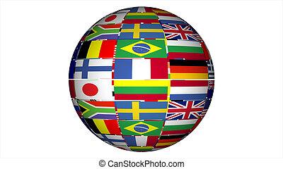 een, werken, van, vlaggen
