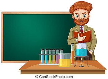 een, wetenschap leraar, in, klaslokaal