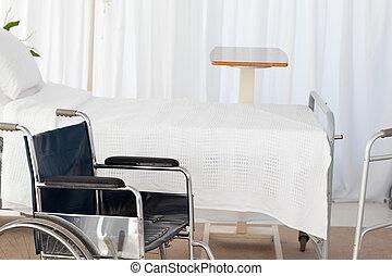 een, wheelchair, in een kamer
