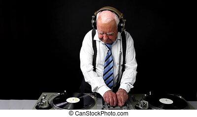 een, zeer, funky, bejaarden, opa, dj, vermenging, verslag