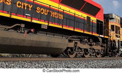 een, zeer, lang, lading trein, voorbijgaand, in, amerika