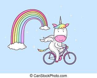 eenhoorn, op een fiets