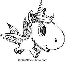 eenhoorn, pegasus, doodle, schets