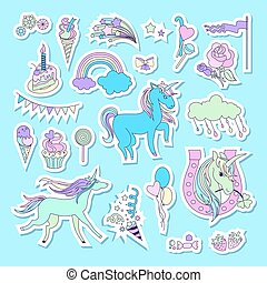 eenhoorn, veelkleurig, stickers, met, eenhoorn, wolk, taart, zoetigheden, roomijs, baloons, roos, en, vlag
