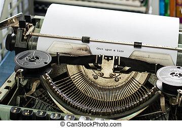 eens, op, een, time:vintage, inscriptie, gemaakt, door, oud, typemachine