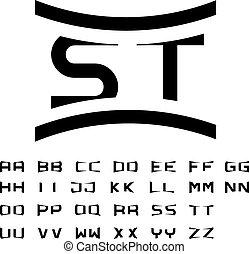 eenvoudig, alfabet, vector, black